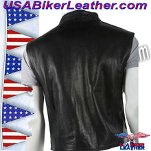 Mens Leather Motorcycle Club Vest with Zipper Front / SKU USA-MV8001-DL - USA Biker Leather - 2