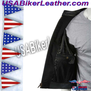 Mens Leather Motorcycle Club Vest with Zipper Front / SKU USA-MV8001-DL - USA Biker Leather - 3