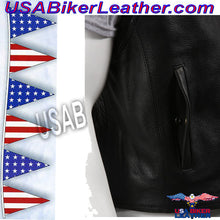 Mens Leather Motorcycle Club Vest with Zipper Front / SKU USA-MV8001-DL - USA Biker Leather - 4