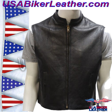 Mens Leather Motorcycle Club Vest with Zipper Front / SKU USA-MV8001-DL - USA Biker Leather - 1
