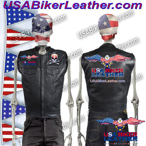 Mens Leather Motorcycle Club Vest with Short Collar / SKU USA-MV8007-DL - USA Biker Leather - 1