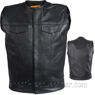 Mens Leather Motorcycle Club Vest with Short Collar / SKU GRL-MV8007-DL