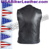 Mens Leather Motorcycle Club Vest with Zipper and No Collar / SKU USA-MV8008-ZIP-DL - USA Biker Leather - 4