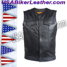 Mens Leather Motorcycle Club Vest with Zipper and No Collar / SKU USA-MV8008-ZIP-DL - USA Biker Leather - 2
