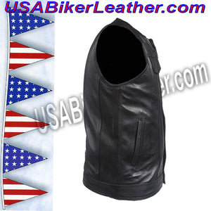 Mens Leather Motorcycle Club Vest with Zipper and No Collar / SKU USA-MV8008-ZIP-DL - USA Biker Leather - 3