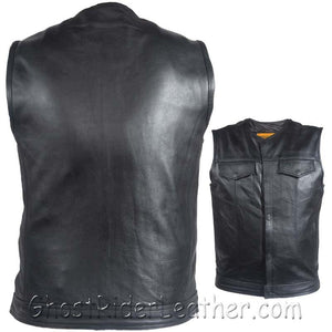 Mens Motorcycle Club Naked Leather Vest With Zipper - No Collar - SKU GRL-MV8008-ZIP-11-DL - USA Biker Leather