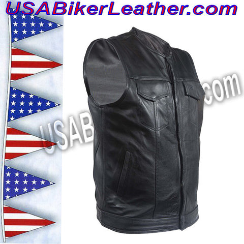 Mens Leather Motorcycle Club Vest with Zipper and No Collar / SKU USA-MV8008-ZIP-DL