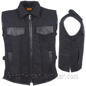Mens Canvas Single Panel Motorcycle Vest With Gun Pockets - SKU GRL-MV8010-CV-DL - USA Biker Leather