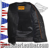 A Mens Classic Motorcycle Club Vest with Concealed Carry Pockets / SKU USA-MV8014-DL - USA Biker Leather - 2