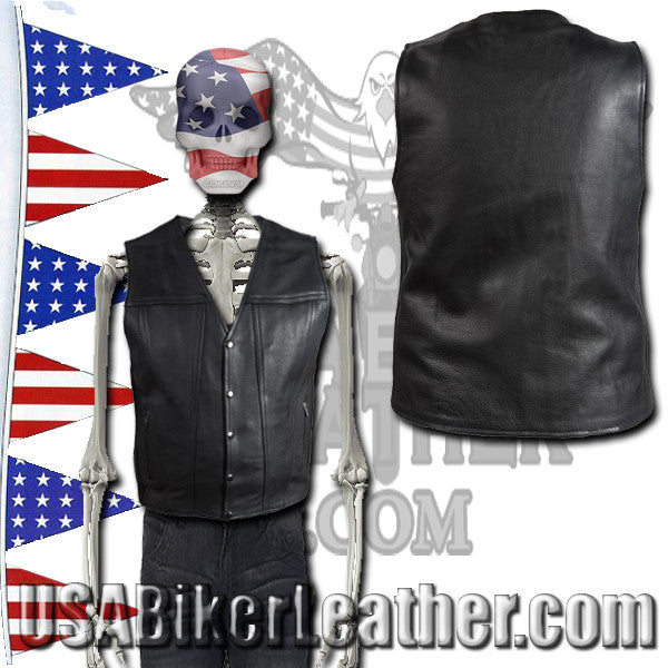 A Mens Classic Motorcycle Club Vest with Concealed Carry Pockets / SKU USA-MV8014-DL - USA Biker Leather