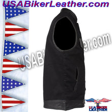Mens Black Denim Club Vest with Leather Trim / SKU USA-MV8019-ZIP-BD-DL - USA Biker Leather - 4
