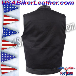 Mens Black Denim Club Vest with Leather Trim / SKU USA-MV8019-ZIP-BD-DL - USA Biker Leather - 2