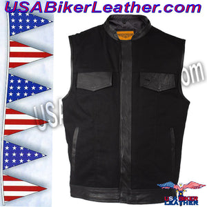 Mens Black Denim Club Vest with Leather Trim / SKU USA-MV8019-ZIP-BD-DL - USA Biker Leather - 5