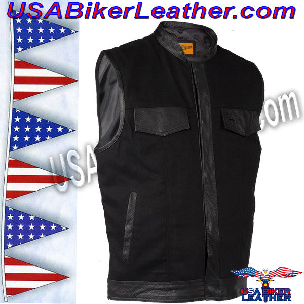 Mens Black Denim Club Vest with Leather Trim / SKU USA-MV8019-ZIP-BD-DL - USA Biker Leather - 1