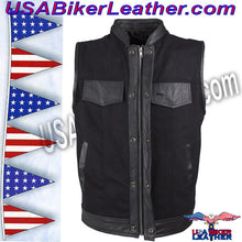 Mens Black Denim Club Vest with Leather Trim / SKU USA-MV8019-ZIP-BD-DL - USA Biker Leather - 3