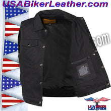 Mens Black Denim Motorcycle Club Vest / SKU USA-MV8020-BD-DL - USA Biker Leather