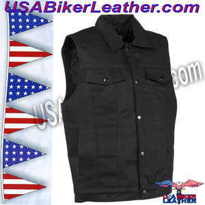 Mens Black Denim Motorcycle Club Vest / SKU USA-MV8020-BD-DL - USA Biker Leather - 1