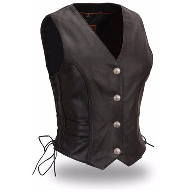 Native Lacy - Women's Motorcycle Leather Vest - USA Biker Leather