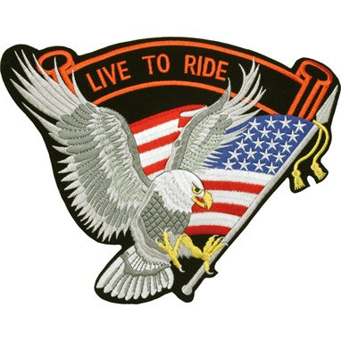 Silver Eagle with USA Flag and Live To Ride Banner Patch / SKU USA-PAT-A10-DL