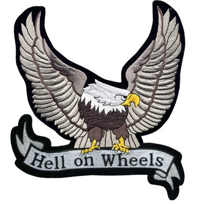 Silver Eagle with Hell On Wheels Banner Patch / SKU USA-PAT-A25-DL