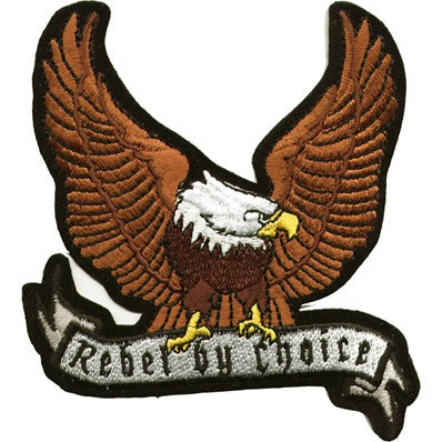 Brown Eagle with Rebel By Choice Banner Patch / SKU USA-PAT-A28-DL - USA Biker Leather