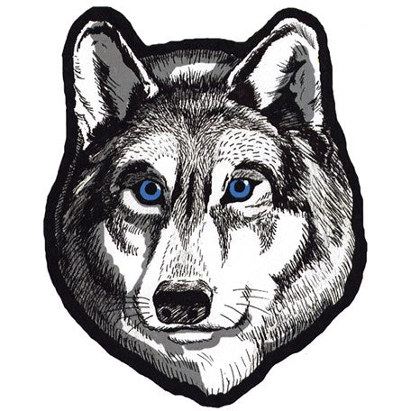 Large Wolf Head with Blue Eyes Patch / SKU USA-PAT-A47-DL - USA Biker Leather