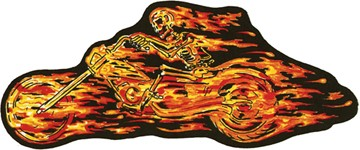 Flaming Skull Skeleton Flames Rider Patch / SKU USA-PAT-A49-DL