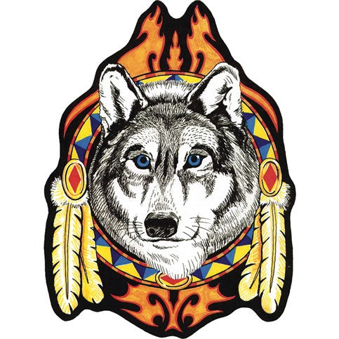 Large Wolf Head with Feathers and Blue Eyes Vest Patch / SKU USA-PAT-A50-DL