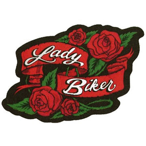 Ladies Lady Biker With Roses Patch / SKU USA-PAT-A57-DL