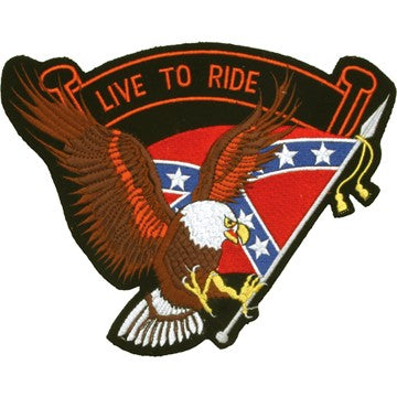 Eagle with Rebel Flag and Live To Ride Banner Patch / SKU USA-PAT-B109-DL - USA Biker Leather