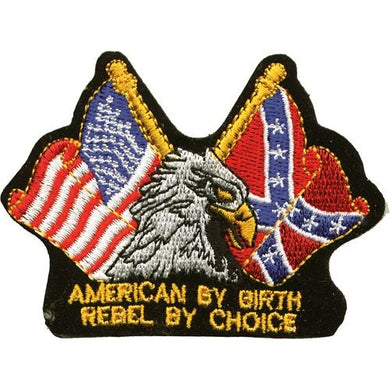 Eagle with American By Birth Rebel By Choice Patch / SKU USA-PAT-B110-DL