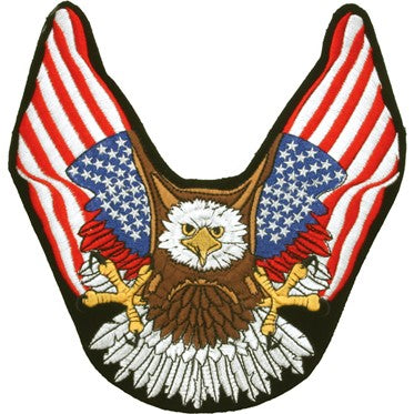 Eagle With American Flat Wings Patch / SKU USA-PAT-B111-DL - USA Biker Leather