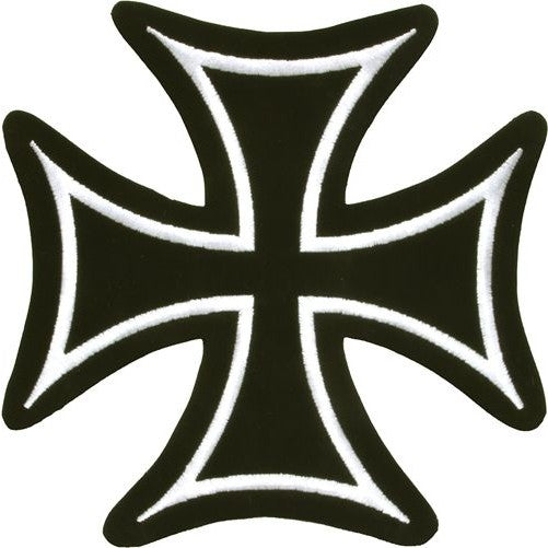 Iron Cross With White Border Patch / SKU USA-PAT-C201-DL - USA Biker Leather