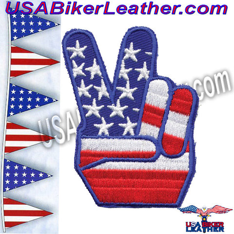 USA Flag Peace Sign Patch / SKU USA-PAT-D489-DL