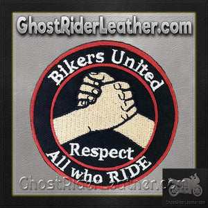 Two Bikers United Respect All Who Ride Patches / SKU GRL-PAT-D575-DL - USA Biker Leather