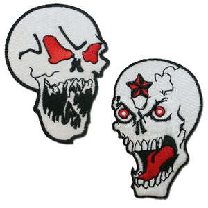 Skull With Red Eyes and Evil Star Skull Patches / SKU USA-PAT-D597-D598-DL - USA Biker Leather