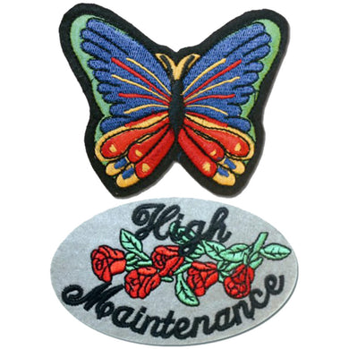High Maintenance Patch and Butterfly Patches / SKU USA-PAT-D612-D614-DL