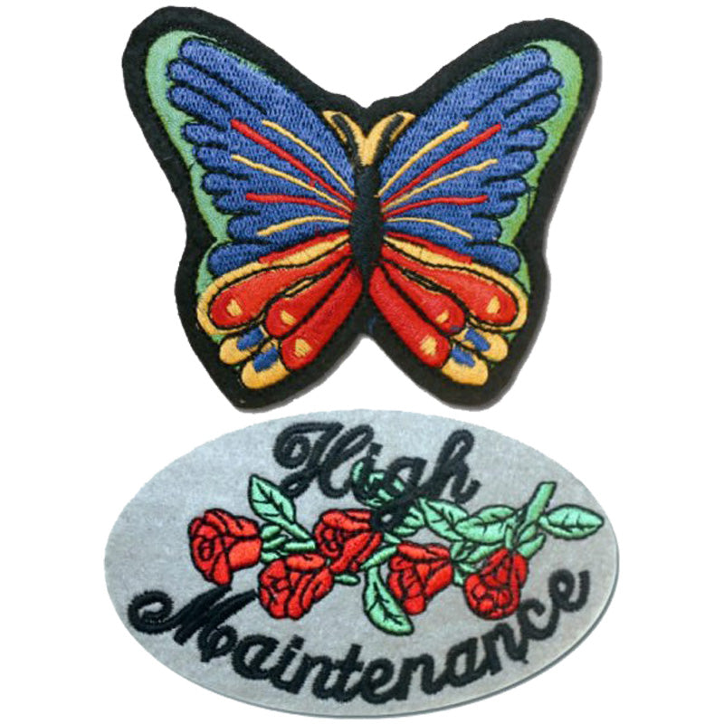 High Maintenance Patch and Butterfly Patches / SKU USA-PAT-D612-D614-DL - USA Biker Leather