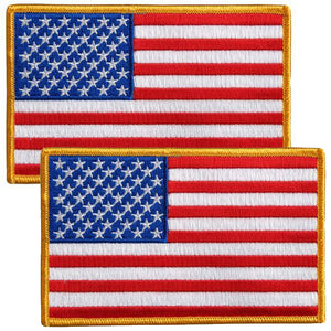 TWO American Flag Patches - Small - SKU USA-PPA1221-X2-HI - USA Biker Leather