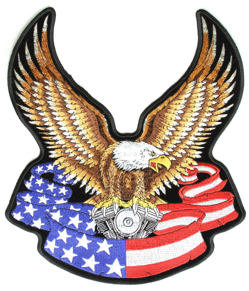 Eagle with V-Twin and American Flag Banner Vest Patch - Large - SKU USA-PPA1097-HI