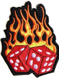 Flaming Dice Vest Patch - SKU USA-PPA1212-HI - USA Biker Leather