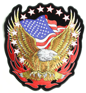 Eagle with American Flag and Stars Vest Patch - SKU USA-PPA1427-HI