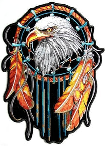 Eagle With Feathers Dream Catcher Vest Patch - SKU USA-PPA6834-HI - USA Biker Leather