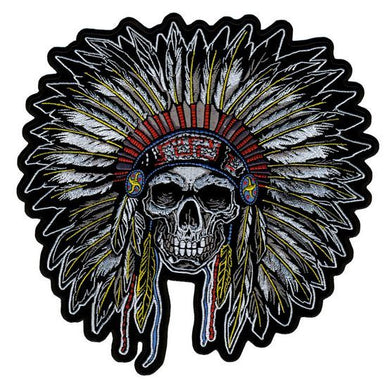 Full Headdress with Skull Vest Patch - SKU USA-PPA7503-HI - USA Biker Leather