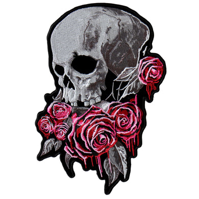 Bleeding Rose Skull Vest Patch - SKU USA-PPA8310-HI - USA Biker Leather
