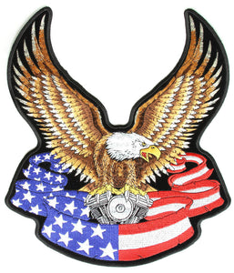 Eagle with V-Twin and American Flag Banner Vest Patch - Small - SKU USA-PPA1092-HI - USA Biker Leather