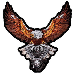 Storm Clouds Eagle with V-Twin Engine Vest Patch - Small - SKU USA-PPA8224-HI - USA Biker Leather