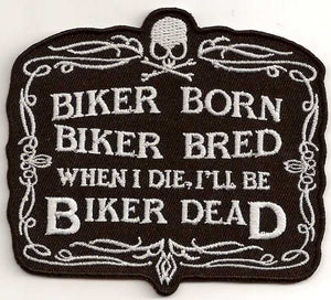 Biker Born Biker Bred Vest Patch - SKU USA-PPA2072-HI - USA Biker Leather