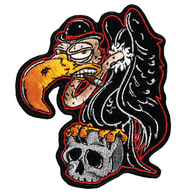 Buzzard Holding Skull Vest Patch - SKU USA-PPA7330-HI - USA Biker Leather