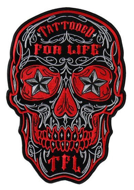 Skull With Tattooed For Life TFL Vest Patch - SKU USA-PPA8000-HI - USA Biker Leather